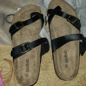JOURNEI FOOTBED SANDALS SIZE 10 BLACK NWT